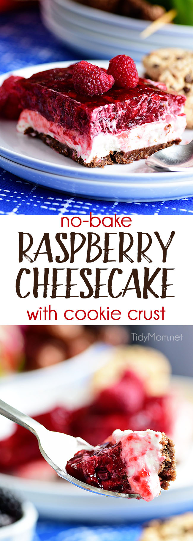 No-Bake Raspberry Cheesecake with Cookie Crust. Perfect make-ahead dessert fora summer BBQ or potluck Print the full recipe at TidyMom.net #dessert #raspberry #nobake #summer #recipe