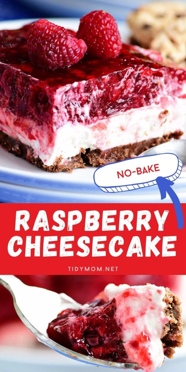 NO-BAKE RASPBERRY CHEESECAKE on a plate with a fork