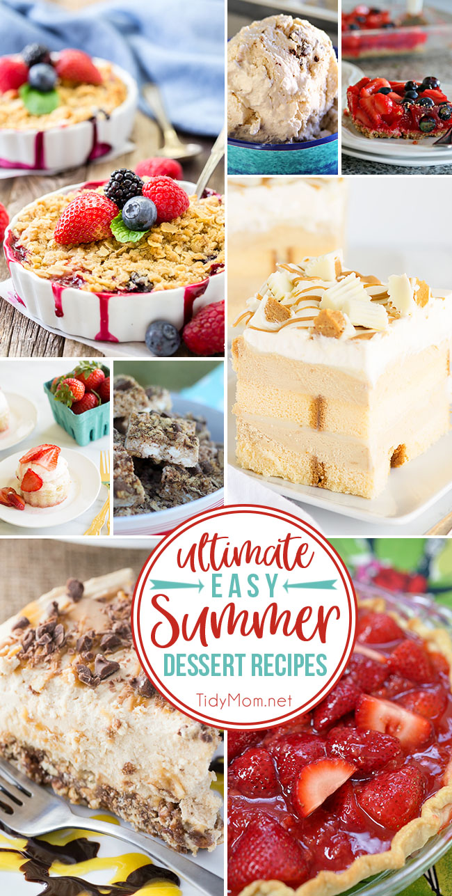 When the temps are on the rise, I want EASY SUMMER DESSERT RECIPES that are cool and delicious from no-churn ice cream to slab pies and more! Get 8 Ultimate Easy Summer Dessert Recipes at TidyMom.net