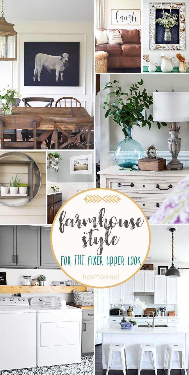 Steal Joanna's signature modern, rustic and oh-so-comfortable style with these farmhouse decor ideas for the Fixer Upper farmhouse look for your own home. Get all the details at TidyMom.net