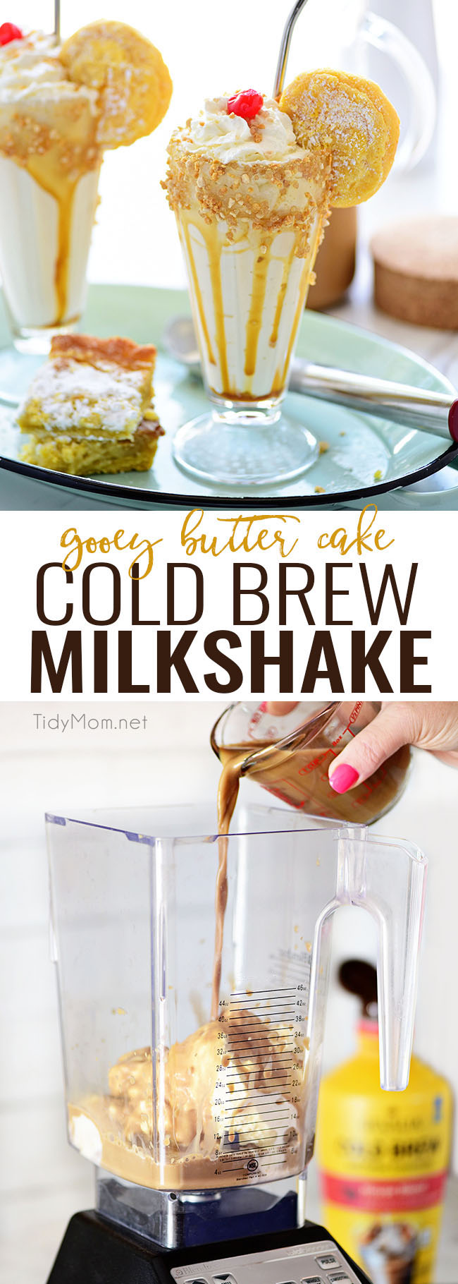 Creamy and delicious, a Gooey Butter Cake Cold Brew Milkshake is the perfect dessert or treat!  This decadent cold brew milkshake tastes like a piece of gooey butter cake with a cup of coffee.  Print the recipe at TidyMom.net #milkshake #gooeybuttercake