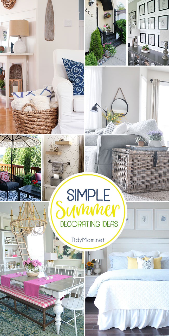 Simple Summer Decorating doesn't have to be expensive. You can lighten your home to give it a summer feel, with pillows, fresh flowers, and artwork. Get Simple Summer Decorating Ideas at TidyMom.net