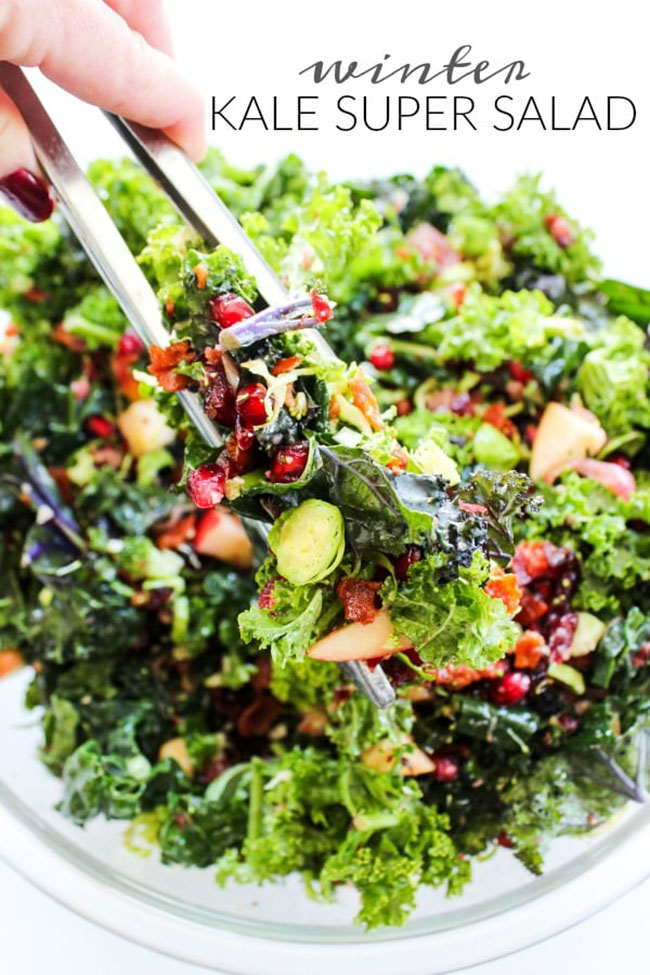 Best Comfort Food Meal Plan. Winter Kale Super Salad from A Dash of Sanity. Get More meal plan recipes, printable and decor at TidyMom.net