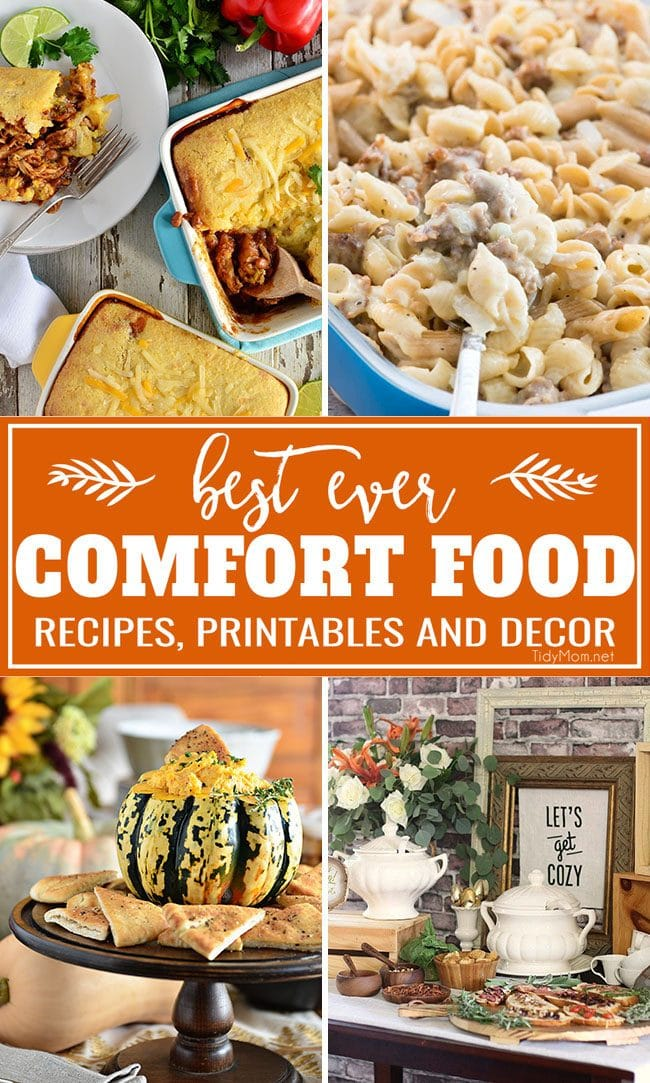 It's Fall!! That means is comfort food season and time for delicious, hearty comforting recipes to keep your belly full .Get the Best Comfort Food Meal Plan from Crockpot Cinnamon Apples and BBQ Chicken Pot Pie Topped with Cornbread to Honey Buttermilk Biscuits and Pumpkin Cream Cheese Dip. Get more comfort food recipes + fun fall printables and party ideas, too at TidyMom.net