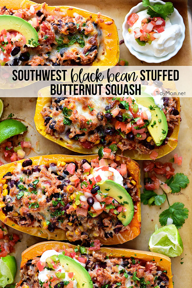 Southwest Black Bean Stuffed Butternut Squash with Bush's Beans and TidyMom