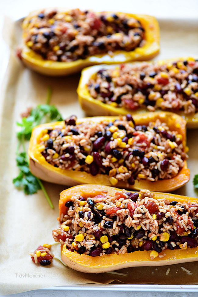 oven ready Southwest Black Bean Stuffed Butternut Squash with Bush's Beans. Print recipe at TidyMom.net