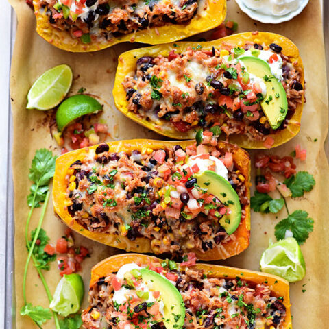 Delicious Southwest Black Bean Stuffed Butternut Squash with Bush's Beans. Print recipe at TidyMom.net