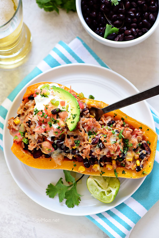 Plated Southwest Black Bean Stuffed Butternut Squash with Bush's Beans and TidyMom