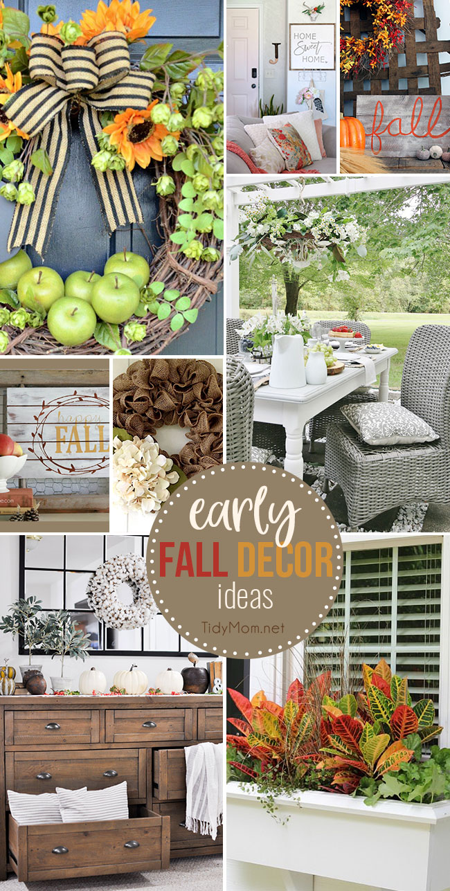 Bring a touch of Fall into your home with these simple, yet beautiful Early Fall Decorating Ideas! Includes Autumn DIY projects and decor ideas for your entryway, patio as well as wreath and sign projects too! at TidyMom.net