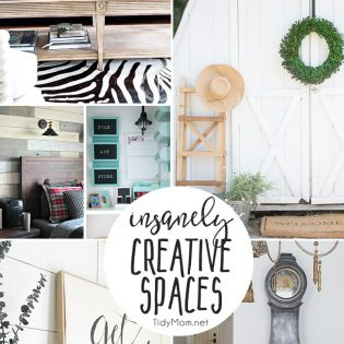 Insanely creative spaces for your home. From the bathroom and laundry room, to living room and a she shed, find inspiration to decorate your own home! Find all of the insanely creative spaces at TidyMom.net