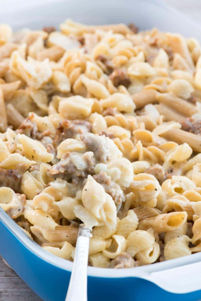 Best Comfort Food Meal Plan. Sausage Mac & Cheese from Crazy for Crust. Get More meal plan recipes, printable and decor at TidyMom.net