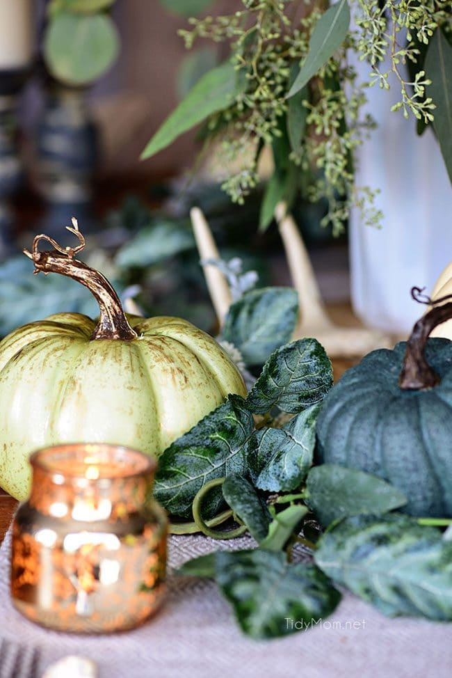 Blue and Green Pumpkins: Seasonal Simplicity — Blue and Green Fall Tablescape with simple eucalyptus and pumpkins fall centerpiece . Get all the details along with 20+ Fall Home Tours at TidyMom.net