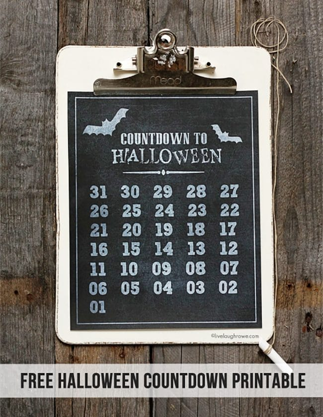 Halloween Countdown from Live Laugh Rowe perfect for a Halloween Meal Plan or Party