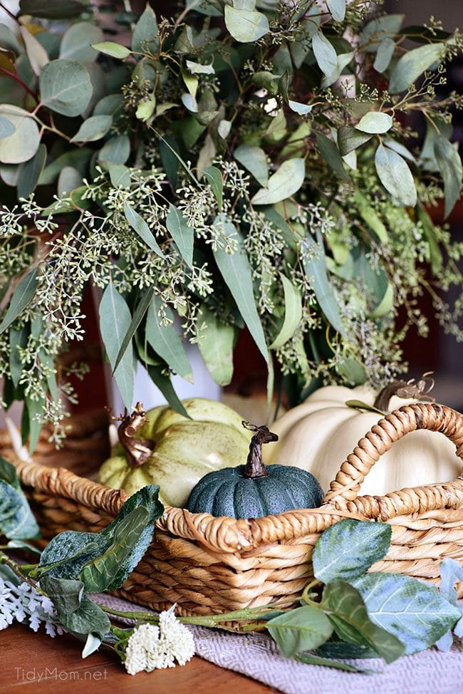 Seasonal Simplicity - Eucalyptus Fall Centerpiece with blue and green pumpkins + Fall Tablescape. Get all the details along with 20+ Fall Home Tours at TidyMom.net