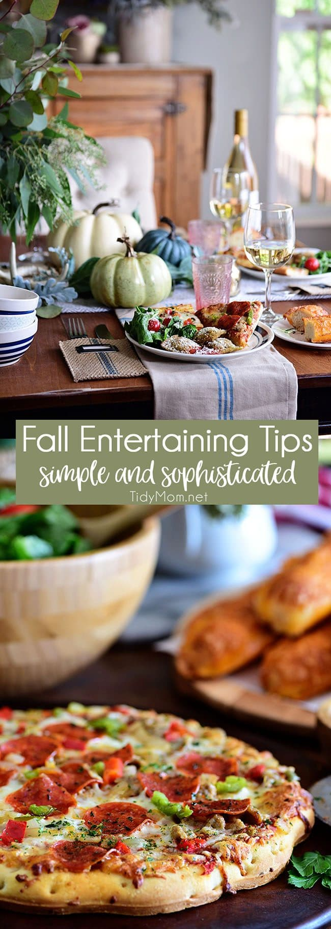 Fall Entertaining can be simple and still be elegant. There's nothing like themagic of a small cozy fall dinner party—good company, a simple but radiant table, delicious stress-free food and everyone feels relaxed Get all the fall entertaining tips and ideas at TidyMom.net
