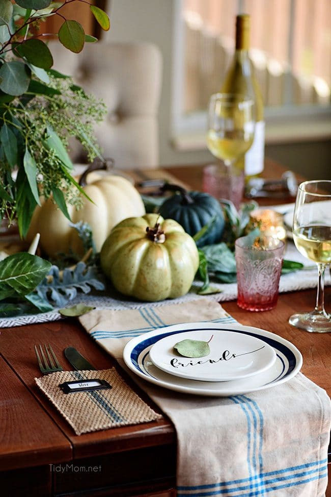 Friends Plate: Seasonal Simplicity Blue and Green Fall Tablescape. Simple and elegant fall table and fall centerpiece. Get all the details along with 20+ Fall Home Tours at TidyMom.net