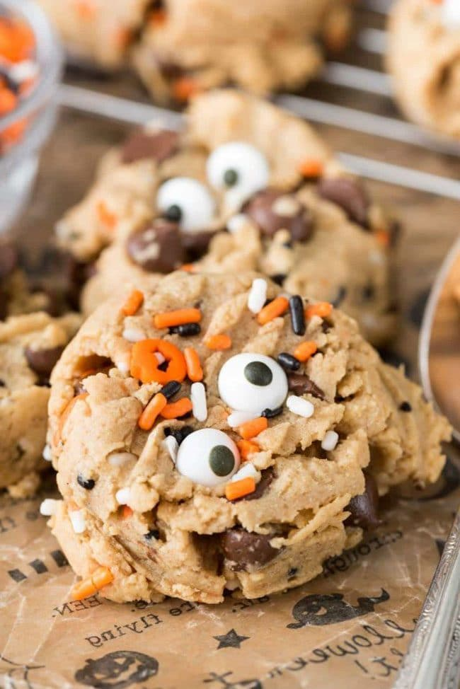 Peanut Butter Pudding Cookies from Crazy for Crust for a Halloween Meal Plan or Party