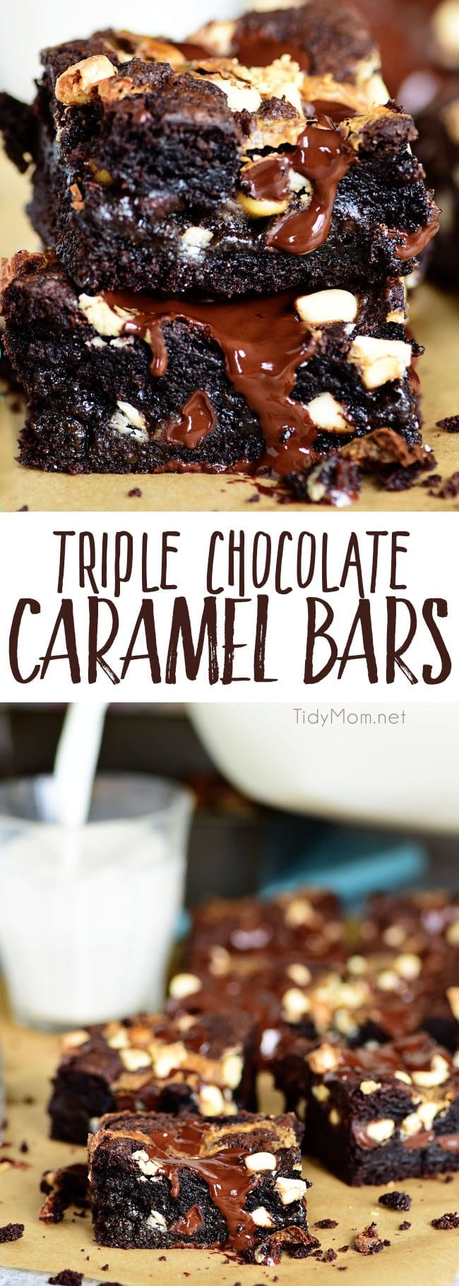 Triple Chocolate Caramel Bars are like a thick chewy brownie only better!! These indulgent cake mix bars are always a hit and easy to make! Print the full recipe at TidyMom.net