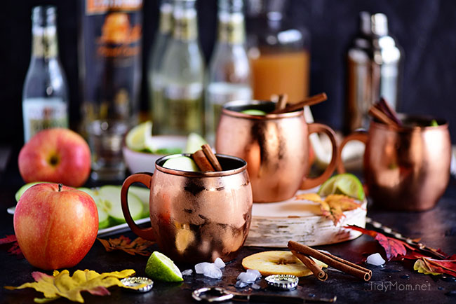 Caramel Apple Moscow Mule in copper mugs - horizontal image