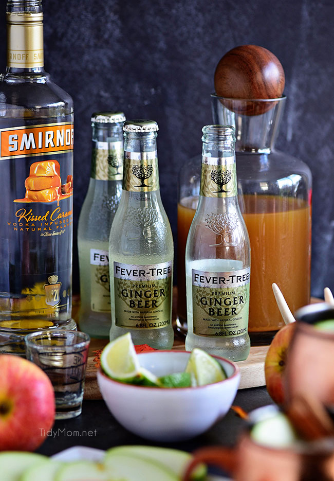 Caramel Apple Moscow Mule ingredients - horizontal