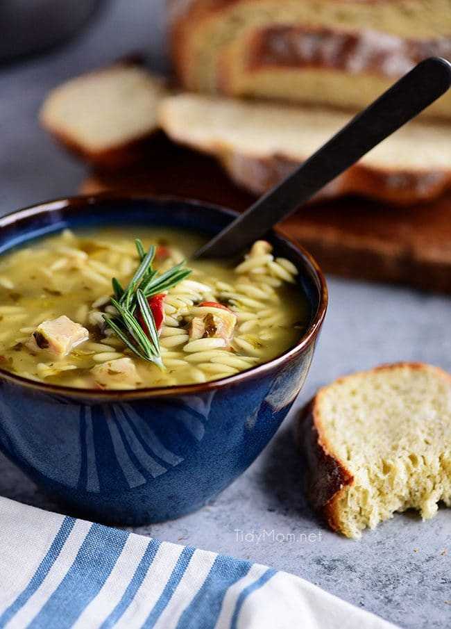 Progresso Chicken and Orzo with Lemon Soup is perfect with Sourdough No Knead Dutch Oven Bread