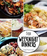 What to make for dinner? Because dinner can become boring, here are some Easy Weeknight Dinners that deliver on delicious!! Get all the dinner recipes at TidyMom.net