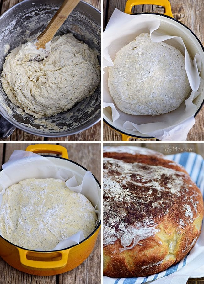 How to make Sourdough No Knead Dutch Oven Bread is and easy way to make crusty artisan style bread at home! The best part is, very little effort is needed and it's foolproof! Anyone can make it. 5 minutes of mixing in the morning and you can have delicious sourdough bread with soup by dinner!! Print the full recipe at TidyMom.net