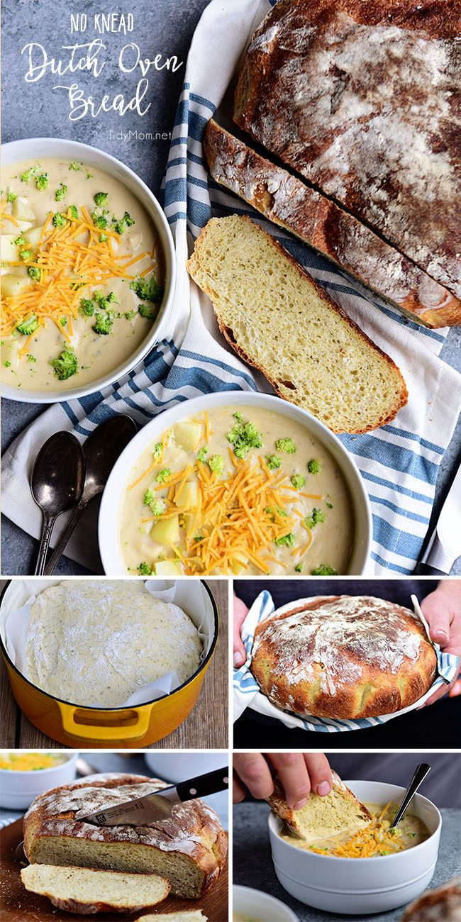 Sourdough No Knead Dutch Oven Bread is an easy way to make crusty artisan-style bread at home! The best part is, very little effort is needed and it's foolproof! Anyone can make it. 5 minutes of mixing in the morning and you can have delicious sourdough bread with your soup for dinner!! Print the full recipe at TidyMom.net