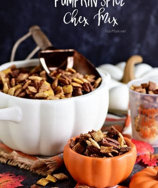 Pumpkin Spice Chex Mix is loaded with sweet and spicy coated cereal and pecans for party or game day snacking! Print the recipe at TidyMom.net