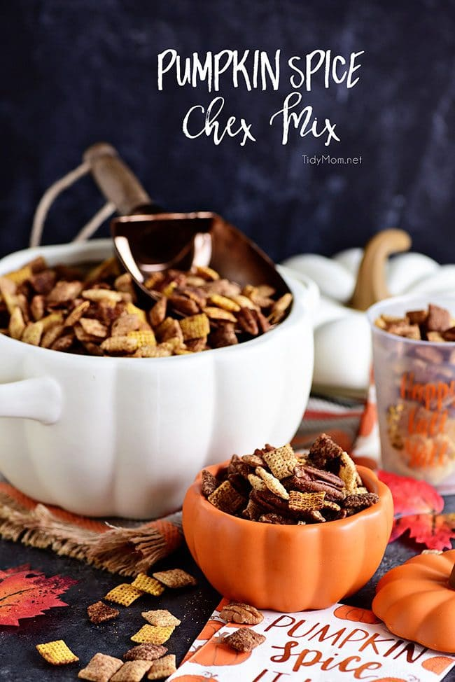 Pumpkin Spice Chex Mix is loaded with sweet and spicy coated cereal, pecans and just the right amount of pumpkin spice flavor for party or game day snacking! Print the recipe at TidyMom.net
