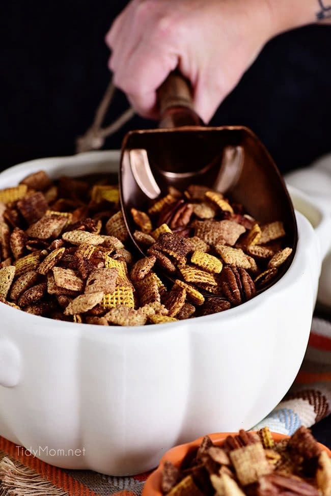 Pumpkin Spice Chex Mix is loaded with sweet and spicy coated cereal and pecans for party or game day snacking!
