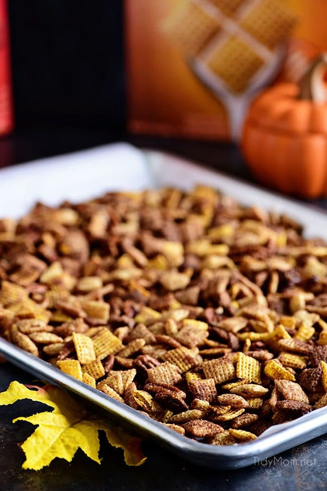 Pumpkin Spice Chex Mix is loaded with sweet and spicy coated cereal and pecans for party or game day snacking