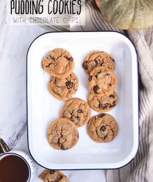 Bring a taste of fall to your chocolate chip cookies thanks to a box of pumpkin pudding mix. These Pumpkin Spice Cookies are soft, delicious and loaed with chocolate chips and peacans. If you haven't had a pudding cookie, you don't know what you're missing. Print the full recipe at Tidymom.net