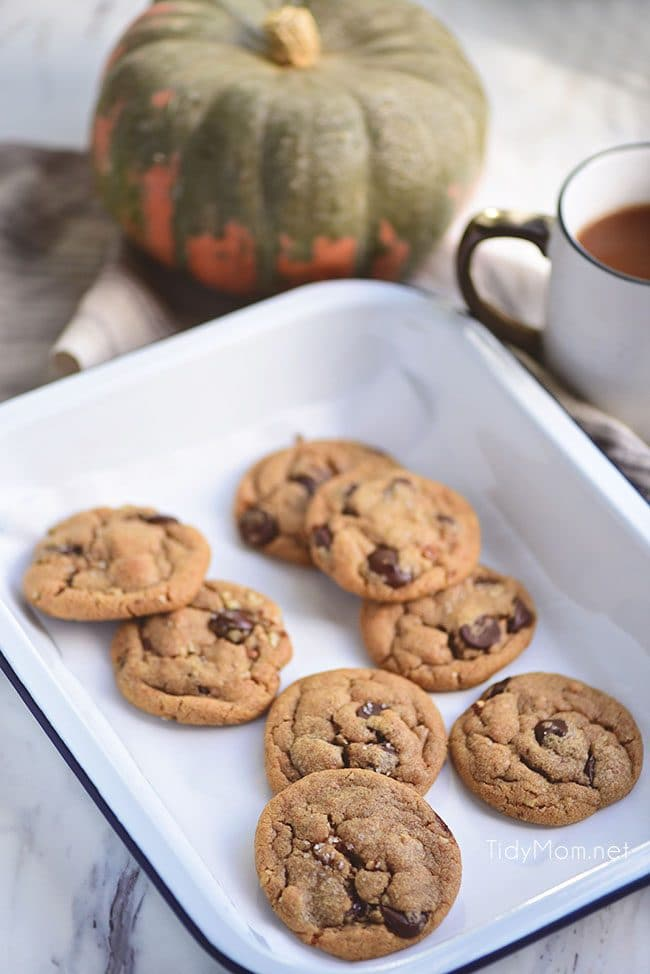 Bring a taste of fall to your chocolate chip cookies thanks to a box of pumpkin pudding mix. These Pumpkin Spice Cookies are soft, delicious and loaded with chocolate chips and pecans. If you haven't had a pudding cookie, you don't know what you're missing. SO delicious!!