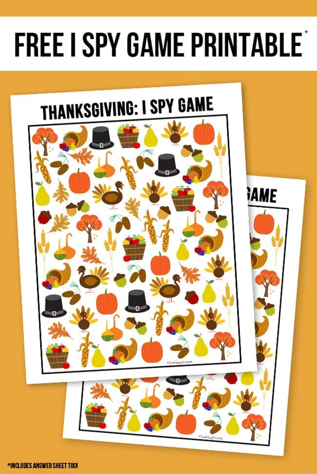 Thanksgiving I Spy Printable from Live Laugh Rowe: The Ultimate Thanksgiving Menu Plan from make-ahead slow cooker turkey and peacan topped sweet potatoes to cranberry appetizers and pumpkin creme brulee. You'll find family favorite Thanksgiving recipes that will have them coming back for more!! Get all the Thanksgiving Menu Recipes and more at TidyMom.net