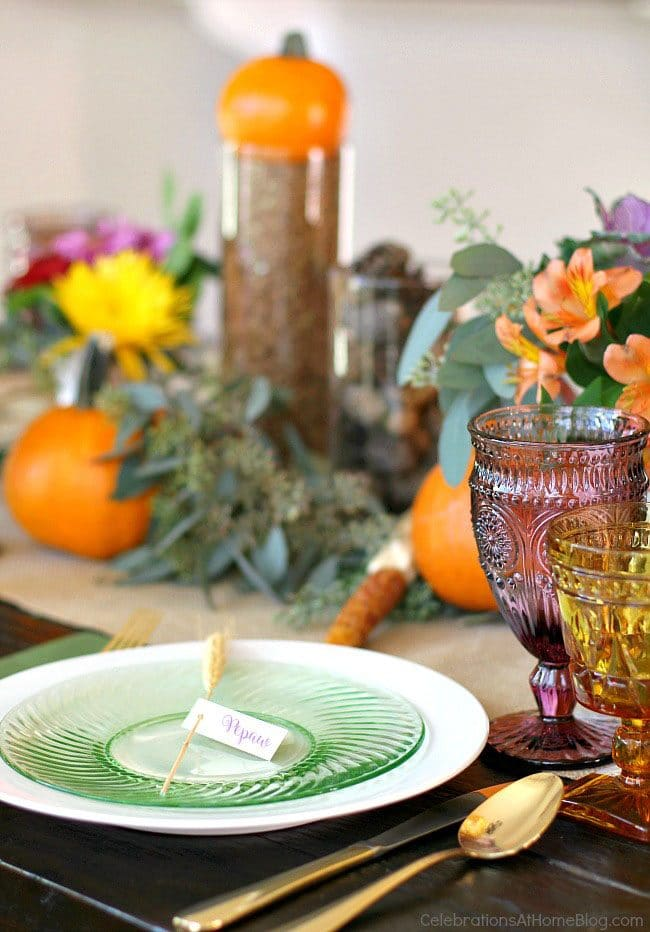 Thanksgiving Table Ideas from Celebrations at Home: The Ultimate Thanksgiving Menu Plan from make-ahead slow cooker turkey and peacan topped sweet potatoes to cranberry appetizers and pumpkin creme brulee. You'll find family favorite Thanksgiving recipes that will have them coming back for more!! Get all the Thanksgiving Menu Recipes at TidyMom.net