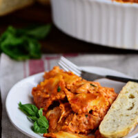 Cheesy Ravioli Bake with Chicken