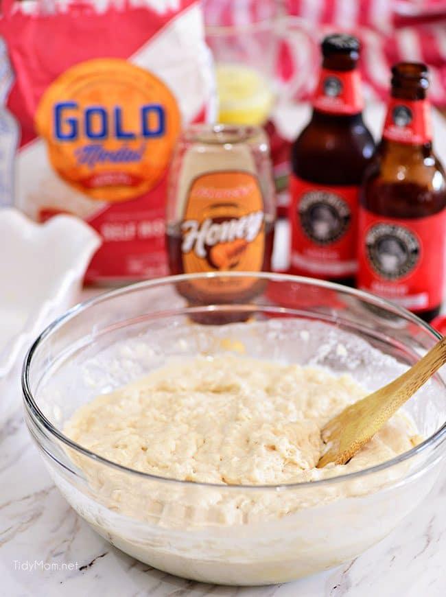 Hard Apple Cider Bread dough in bowl