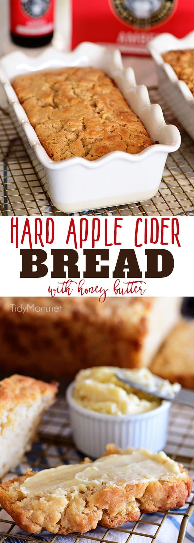 If you enjoy beer bread, you need to try this Hard Apple Cider Bread for fall!! It's super simple to make. The top buttery crust layer is thick and crunchy, making it the perfect companion to soups, dips, honey butter and more! Print the full recipe at TidyMom.net