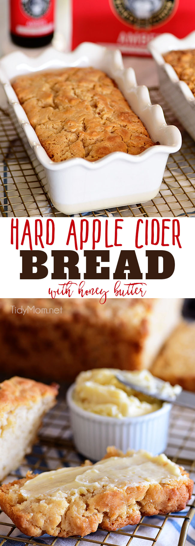 If you enjoy beer bread, you need to try this Hard Apple Cider Bread for fall!! It's super simple to make. The top buttery crust layer is thick and crunchy, making it the perfect companion to soups, dips, honey butter and more! Print the full recipe at TidyMom.net #quickbread #beerbread #hardcider #recipe