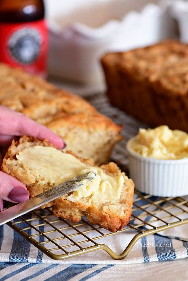 Hard Apple Cider Bread with honey butter spread