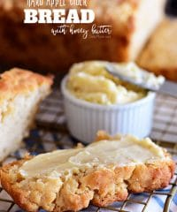 If you enjoy beer bread, you need to try this Hard Apple Cider Bread for fall!! It's super simple to make and the perfect companion to soups, honey butter, dips and more! Print the full recipe at TidyMom.net