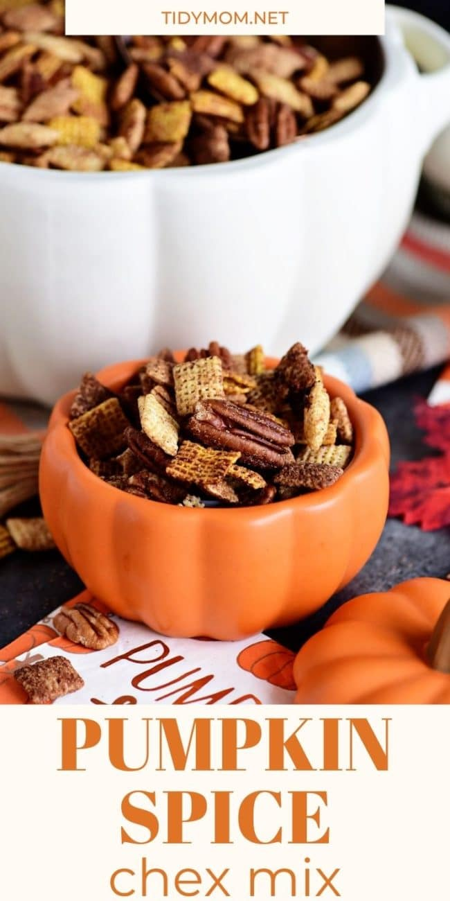chex mix in pumpkin bowls