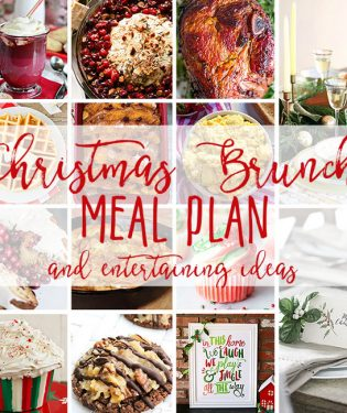 Christmas Bruch Meal Plan from cranberry appetizer and coffee cake, to eggs, baked ham and of course Christmas desserts! Get the full meal plan along with table inspiration and free printables at TidyMom.net