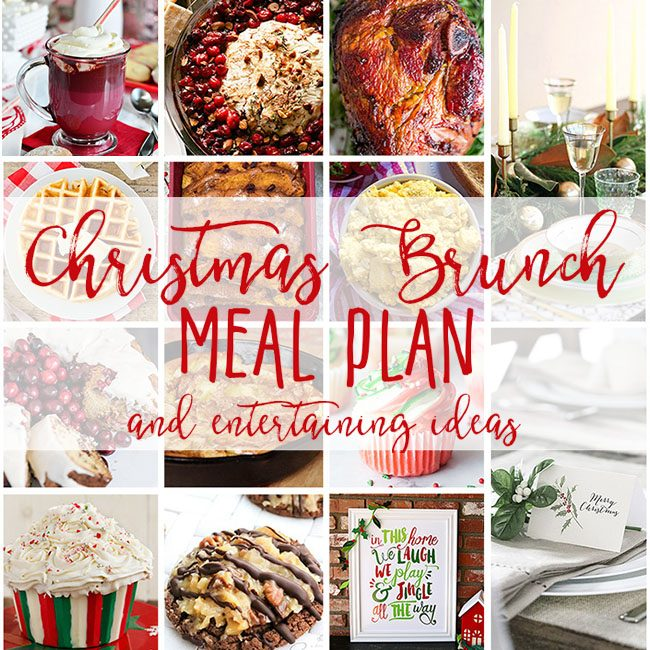 Christmas Brunch Meal Plan from cranberry appetizer and coffee cake, to eggs, baked ham and of course Christmas desserts! Get the full meal plan along with table inspiration and free printables at TidyMom.net