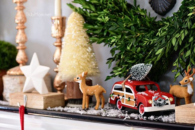 Deer and car Merry and Bright Christmas Mantel Decor