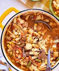 Hearty Old Fashioned Vegetable Beef Soup like Grandma used to make. A delicious family favorite for generations. Print full recipe at TidyMom.net