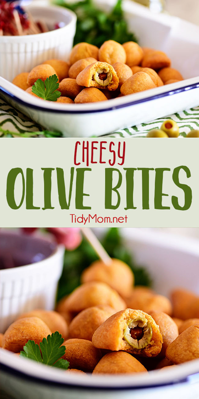 This vintage recipe for Cheesy Olive Bites makes a delicious finger food. They are cocktail party perfect! Just bite into one of these sharp cheddar shortbread wrapped gems and be surprised by a pimento stuffed cocktail olive......martinis optional. Print recipe + step-by-step photo directions at TidyMom.net via @tidymom  #appetizers #olives #cheese