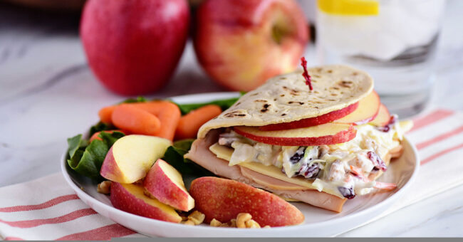 A favorite Panera restaurant sandwich gets a little healthier when you make it at home! Turkey, white cheddar, crisp apple slices, and a crunchy tangy slaw are slipped into a flatbread sandwich. This Turkey, Apple & Cheddar Sandwich is packed with flavor and makes a quick, easy and delicious meal! Print the full recipe at TidyMom.net