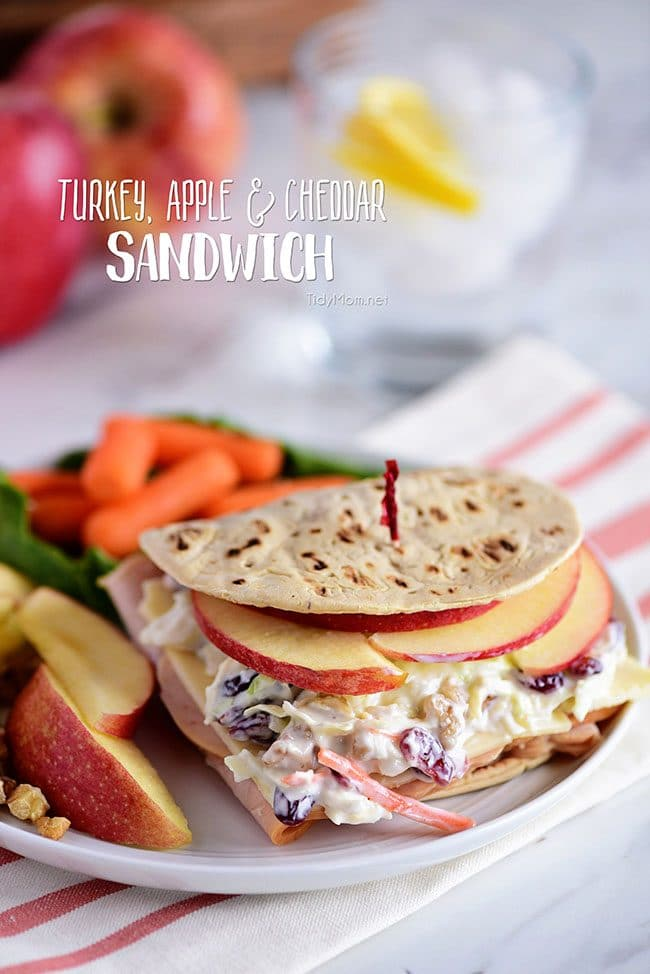 This Roasted Turkey, Apple & Cheddar Sandwich is packed with flavor and makes a quick, easy and delicious meal! A favorite Panera restaurant sandwich gets a little healthier when you make it at home! Turkey, white cheddar, crisp apple slices, and a crunchy tangy cranberry walnut slaw are slipped into a flatbread sandwich. Print the full recipe at TidyMom.net